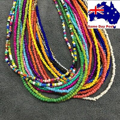 AU6.95 • Buy Beaded Seed Bead Gold Strand Necklace Women String Short Necklace Jewellery