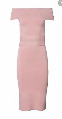 AU220 • Buy Scanlan Theodore Pink Crepe Knit Off Shoulder  Dress Size Small S Midi