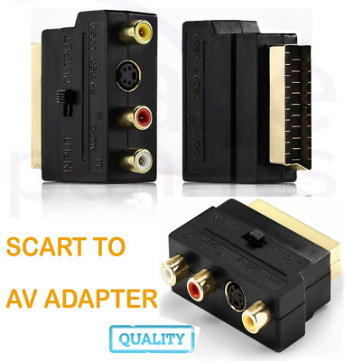£2.80 • Buy SCART To 3 X RCA (Phono) & S-Video Adapter, Switchable Composite AV Connector UK