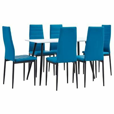 AU381.95 • Buy Modern Dining Set Faux Leather 7 Pcs Kitchen Table And Chairs Furniture Sea Blue