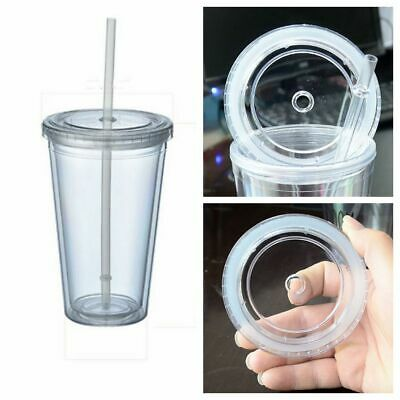 £9.55 • Buy 500/650ml Plastic Clear Cup Double Walled With Lid And Straw Thermal Insulation