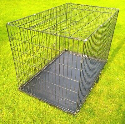 £14.50 • Buy Extra Large Double Door Black Metal Dog Crate (pet, Cat Cage) COLLECTION ONLY