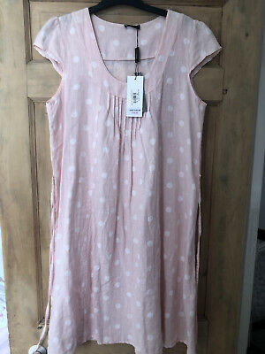 AU36.90 • Buy Luca Vanucci Pink Linen Dress - With White Polka Dots - Size XL