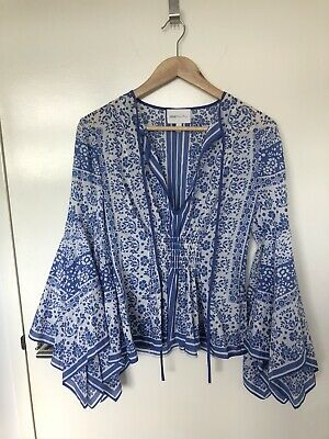 AU46 • Buy Alice Mccall Size 8 Blue And White Blouse With Flutter/Handkerchief Sleeve