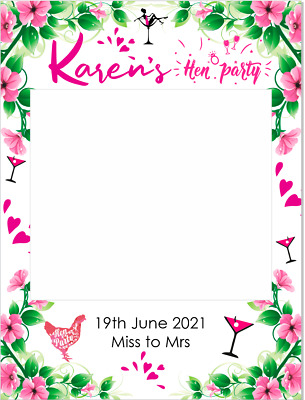 $28.23 • Buy Hen Party Selfie Frame Personalised Party Birthday Occasion 6mm Corex Board