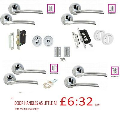 £10.99 • Buy Door Handles On Rose Indiana Lever Style Duo Finished Chrome Door Pack Accessor