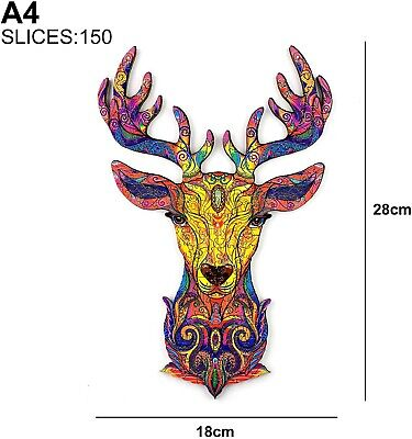 £5.90 • Buy Animal Shape Jigsaw Wooden Puzzle Deer DecompressionA4