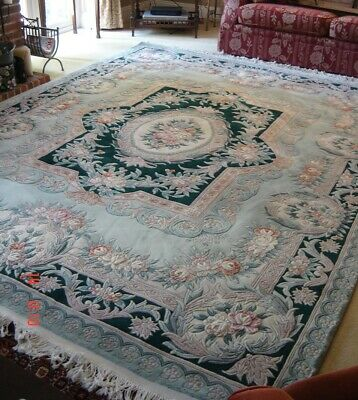£450 • Buy Large Oriental / Chinese Wool Rug 10' X 8' ~ Green Base Colour ~ Essex