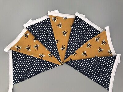 £8.50 • Buy Mustard Yellow Bees And Navy Blue Heart Fabric Bunting Double Sided