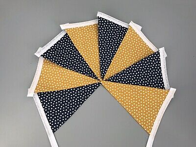 £8.50 • Buy Mustard Yellow And Navy Blue Heart Fabric Bunting Double Sided