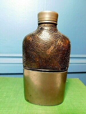 £14.99 • Buy Vintage Pewter & Glass Hip Flask  / With Leather / G & J W Hawksley Sheffield