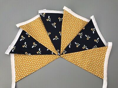 £8.50 • Buy Mustard Yellow Hearts And Navy Blue Bee Fabric Bunting Double Sided