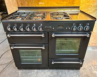 £620 • Buy Rangemaster 110 Dual Fuel Black With Glass Lid -DELIVERY AVAILABLE