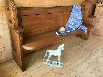 £445 • Buy Antique Solid Oak Pine Church Pew Settle Monks Bench With Aisle Number