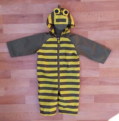 £4 • Buy Mothercare Khaki & Yellow Striped Puddlesuit All-in-one Rain Suit 6-9 Months