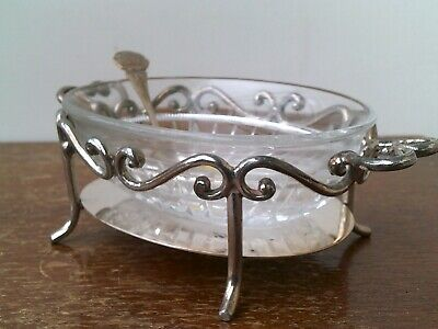 """£9.99 • Buy Antique Late Victorian (1890's) Small Glass Serving Dish With A """"Silver Plated"""""""