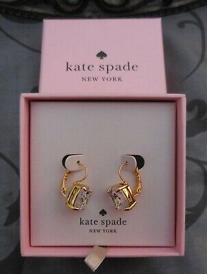 $ CDN28.89 • Buy Kate Spade ~Gold Square Clear Crystal Leverback Drop Earrings~NEW IN BOX!