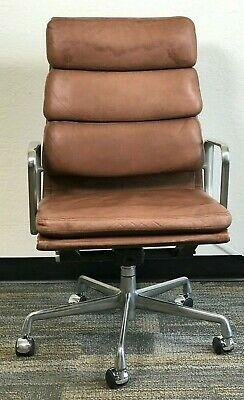 £941.61 • Buy Herman Miller Eames Aluminum Group Executive Chairs Brown Leather