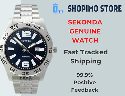 £29.95 • Buy Sekonda Mens Gents Watch Silver Stainless Steel Strap With Blue Dial & Date New