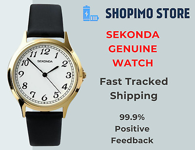 £21.90 • Buy Sekonda Mens Gents Classic Watch Black Leather Strap With White Dial Easy Read