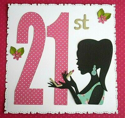 £1.99 • Buy Handmade Card Topper Lady With Make Up/lipstick For A 21st Birthday And Flowers