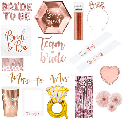 £3.25 • Buy Bride To Be Banner Bunting Hen Party Set Rose Gold Balloon Sash Plates Napkins