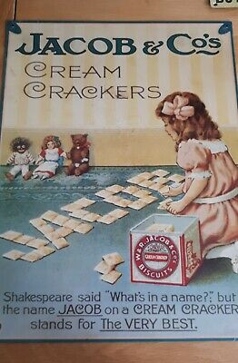 £5.99 • Buy Retro Vintage Style Metal Wall Plaque Sign JACOBS CREAM CRACKERS