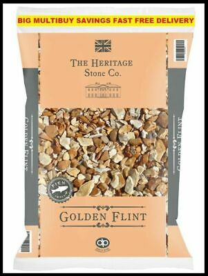£11.95 • Buy Decorative Aggregate Chipping Golden Flint Gravel Gardens 20kg Fast Tracked P&P