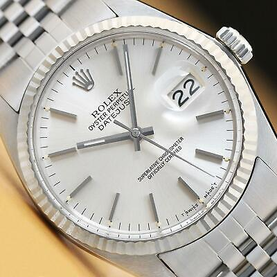 $ CDN6334.79 • Buy Rolex Mens Datejust 16014 Silver Dial 18k White Gold & Stainless Steel Watch