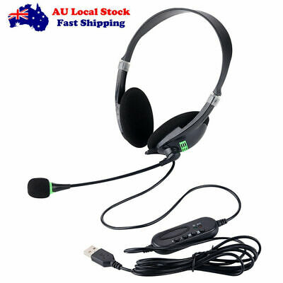 AU12.58 • Buy USB Headset Gaming Headphone With Microphone Noise Cancelling To PC Laptop AU