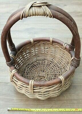 £5 • Buy Wicker Basket Handled Egg Collection Small Shopper Fruit Display Collect-HR1