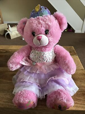 £6.99 • Buy Build A Bear Pink Disney Princess Teddy Plush With Purple Crown And Outfit.