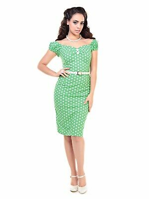 £16.99 • Buy Collectif Green Polka Dot Vintage Style 1950s Pencil Wiggle Dress Size 12