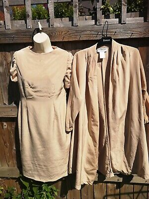 £8 • Buy Ronald Joyce After Six Two Piece Dress 100% Silk Mother Of Bride Gold Beige 12