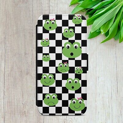 $ CDN17.14 • Buy Checkered Frogs Pattern Flip Wallet Phone Case Cover For Iphone Samsung Huawei