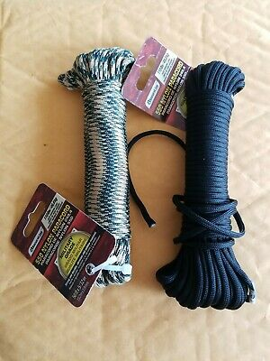 $14 • Buy 2 SecureLine 50' CAMOUFLAGE And Black Braided Nylon PARACORD Military.