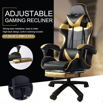 AU105.99 • Buy Adjustable Gaming Chair Office Computer Executive Chairs Seating Footrest Racer