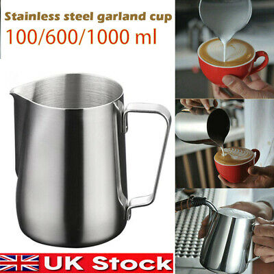 £6 • Buy MilkCup Frothing Jug Frother Metal Pitcher Stainles Steel Coffee Latte Container
