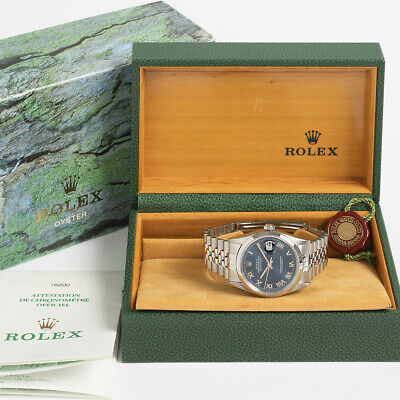$ CDN8300.66 • Buy Rolex Datejust Ref 16200. With Blue Denim Roman Numeral Dial. Box & Papers