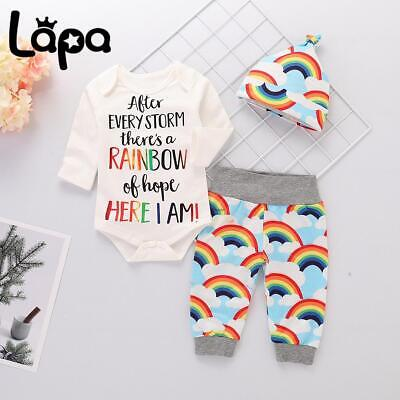 £7.49 • Buy Lapa Baby Girl Boy Rainbow Outfits Long Sleeve Romper Tops Pants Hat Set Clothes