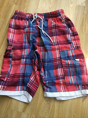 £1.99 • Buy Mens Swimming Shorts Long  Red Check Size S