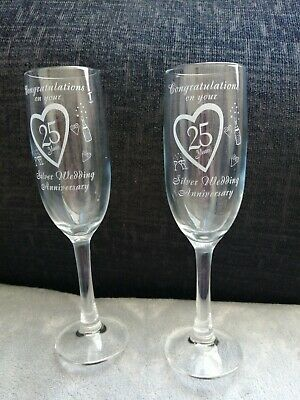 £10 • Buy 25th Pair Of Champagne Glass Set Of 2 Silver Wedding Anniversary Gift