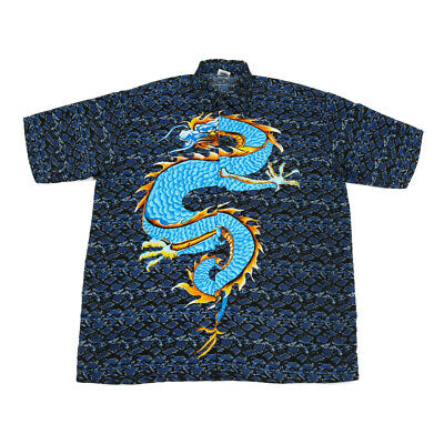 £23.99 • Buy Graphic Chinese Dragon Shirt | Large | Retro Festival Button Y2K 90s Vintage