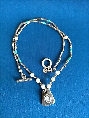 £14.99 • Buy Southwestern Native American Necklace White Metal Beads & Sterling Pendant
