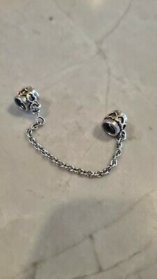 AU60 • Buy Pandora Silver 14K Gold Love Hearts Safety Chain Charm Authentic