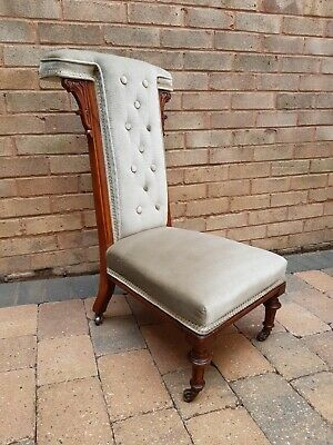 £65 • Buy Walnut Frame Upholstered Button Back Victorian Prie Dieu Chair