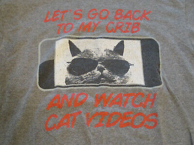 £7.08 • Buy Lets Go Back To My Crib And Watch Cat Videos T Shirt Delta Pro Weight Size Large