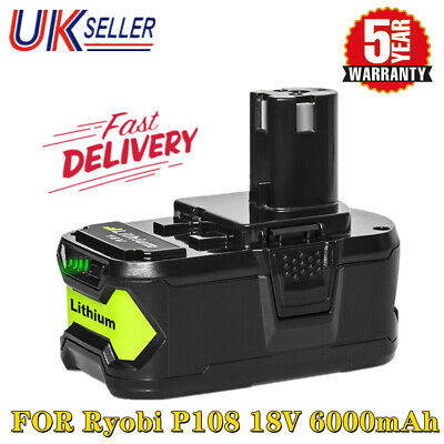 £23.69 • Buy 6.0Ah For Ryobi 18V ONE Plus+ P108 RB18L50 P106 P104 P109 Li-Ion Battery Replace