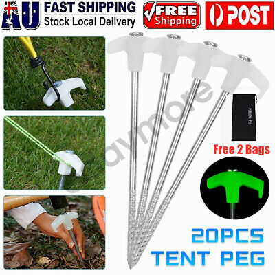 AU23.02 • Buy 20/40Pcs Luminous Tent Pegs Screw Drill In Ground Heavy Duty Steel Camping Stake