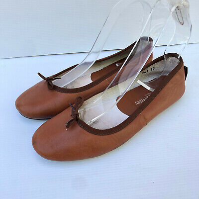 £30 • Buy Russell & Bromley Tan Leather Flat Ballet Pumps Flats Shoes 39 6 CLASSIC